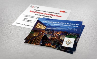 Keste postcard invitations by P.R. Inc.