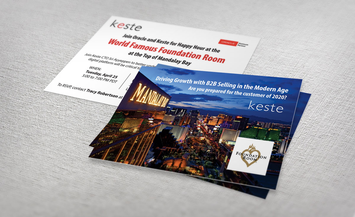 Keste postcard invitations by P.R. Inc.