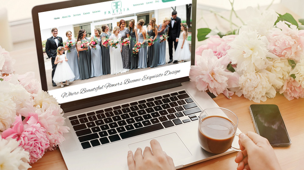 Freesia Dallas website redesigned by P.R. Inc.