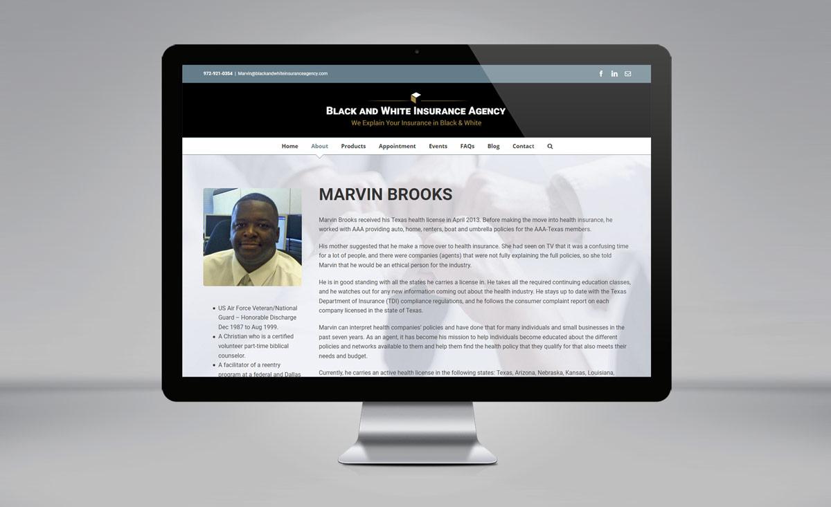 Black and White Insurance Agency website